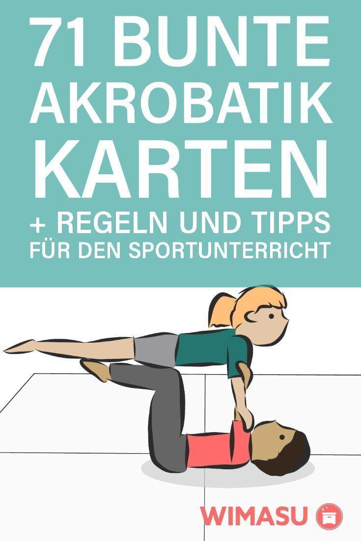 Akrobatikkarte für den Sportunterricht, Regel und Tipps 71 bunte, handgezeichne…