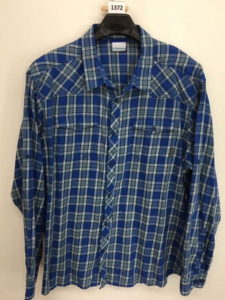 MENS 2XL COLUMBIA OUTDOOR SHIRT PLAID FLANNEL LONG-SLEEVE CASUAL BLUE #Columbia