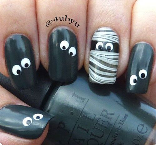 15 Halloween Inspired Mummy Nail Art Styles, Ideas & Stickers 2015 | Nail Design