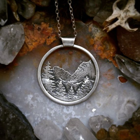 Sterling Silver or Brass Landscape Mountain Range by ritualremains