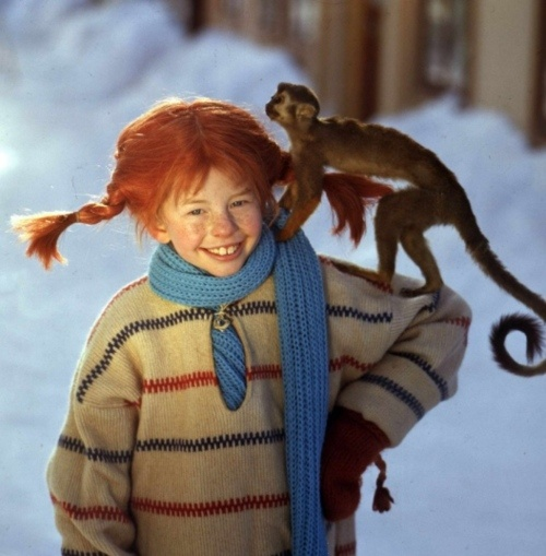 Pippi Longstocking, played by Inger Nilsson- She is from the novel by Astrid Lindgren.