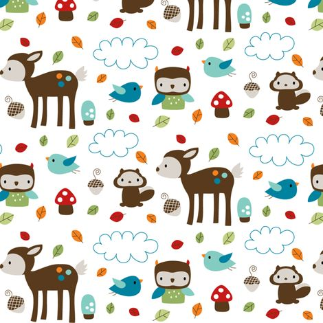 Woodsie Cuties fabric by misstiina on Spoonflower - for Rebecca (would make a cute crib sheet)