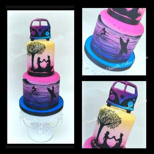 Sunset beach campervan cake
