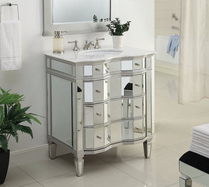 The Art Gallery Adelina inch Mirrored Bathroom Vanity Imperial White marble counter top White under mount