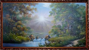 Рассвет у водопада - Водопады <- Картины маслом <- Картины - Каталог | Универсальный интернет-магазин подарков и сувениров