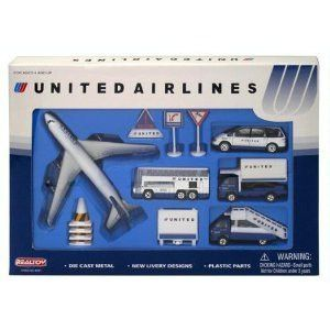 Official United Airlines Airport Playset with Die Cast Vehicles and Plastic Accessories made by Realtoy