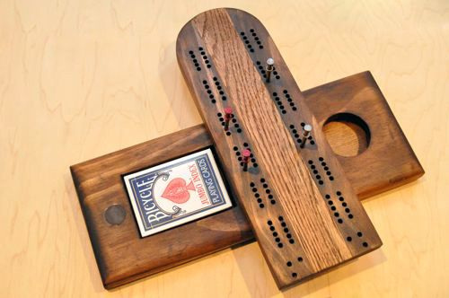 homemade cribbage board... something tells me becca and i should spend some quality time together... with power tools! ;)