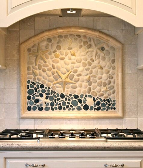 Coastal Kitchen Backsplash Ideas with Tiles | From Beach Murals to Nautical                                                                                                                                                      More