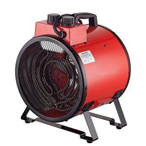 Homeleader Chauffage éclectique en acier inoxydable – Radiateur soufflant – Puissance réglable 30/1500/3000W – Coloris Rouge- ALE-030C-01