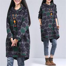 Mujeres Sudadera Invierno Engrosamiento Cálido Algodón Gato Femenino de la Manera de Impresión de Gran Tamaño Vestido de Cuello Ocasional(China (Mainland))