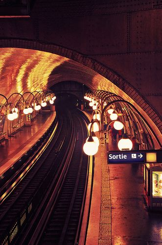 Metro Lights. An easy and relatively cheap way of travelling through the city centre of Paris. More helpful and useful tips on how to spend your time in Paris at theculturetrip.com