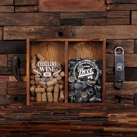 Beer Cap & Wine Cork Holder Personalized Shadow Box Bottle Opener Corkscrew Wine Cork - C