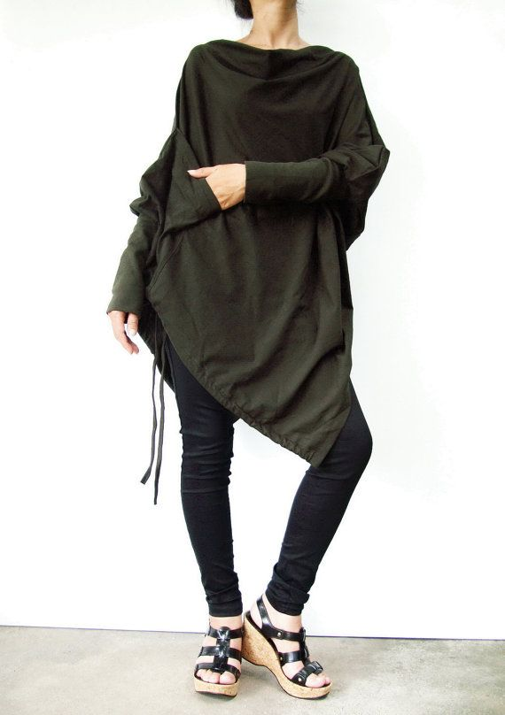 NO.59   Dark Olive Green Cotton-Blend Batwing Tunic Loose Asymmetrical  Sweater