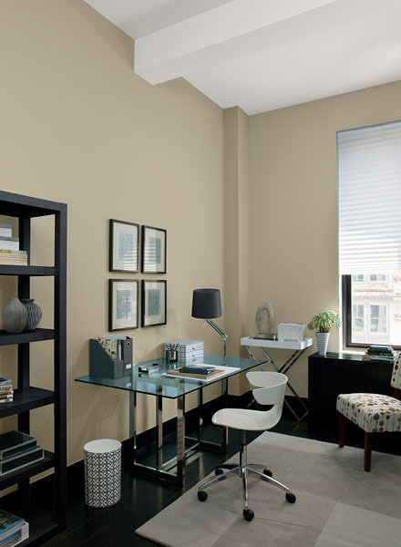 Warm neutrals expand this home office space.-walls are Benjamin Moore Warm Sand