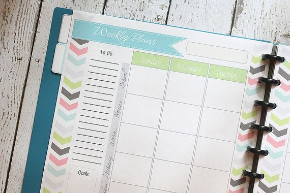 Weekly Planner, 2 Page Spread, PDF Whole Life Weekly Planner Printable, Put up to 7 different sections of your life in your weekly planner, Only $2 INSTANT DOWNLOAD