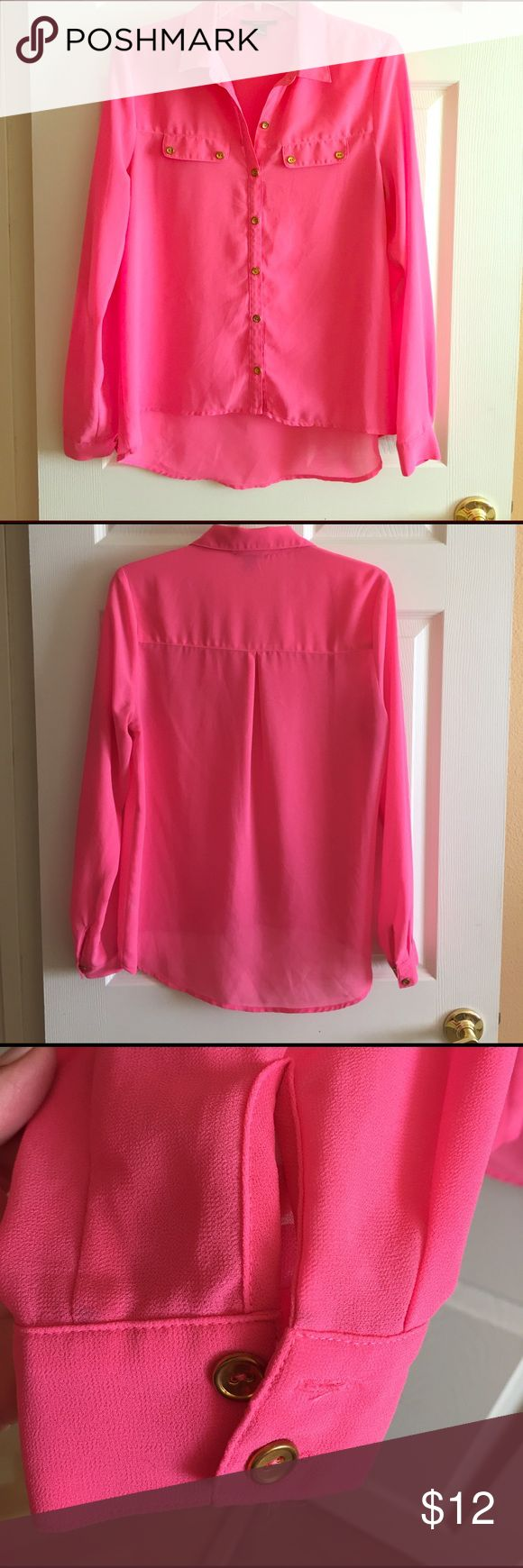 Hot pink button-down top! Very cute with white jeans or all black! Forever 21 Tops Button Down Shirts