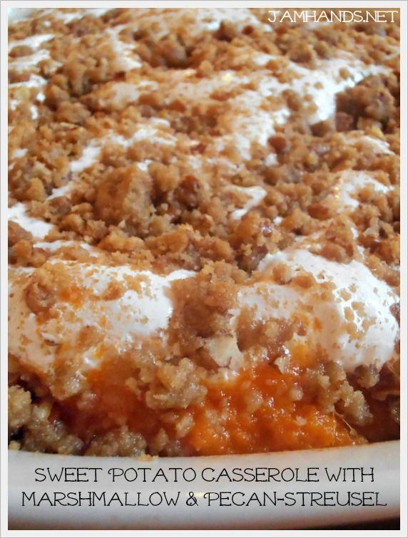 Sweet Potato Casserole with Marshmallow & Pecan Streusel