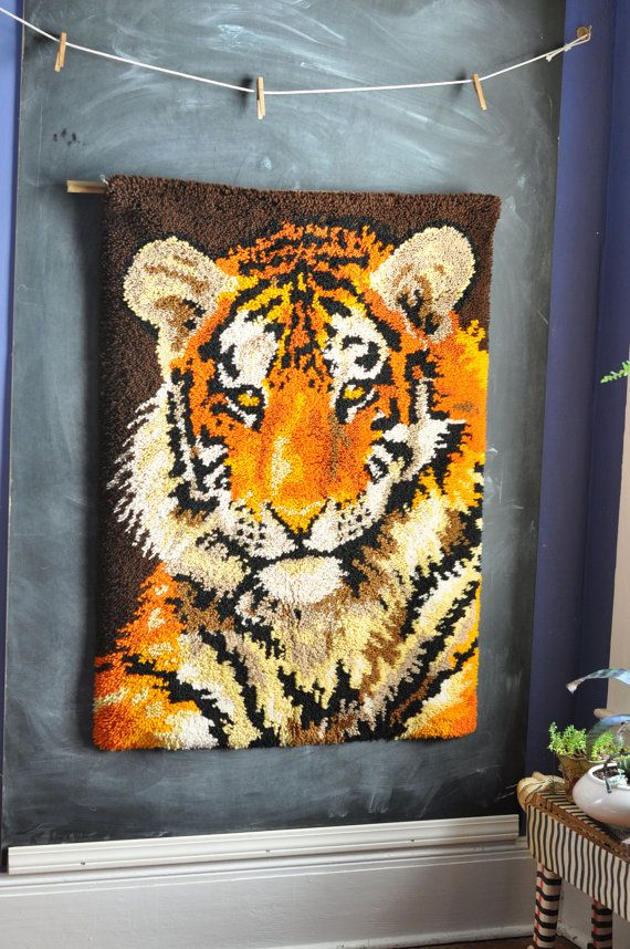 Polypropylene Rugs Vintage Handmade Latch Hook Rug Wall Hanging Tiger by drowsySwords