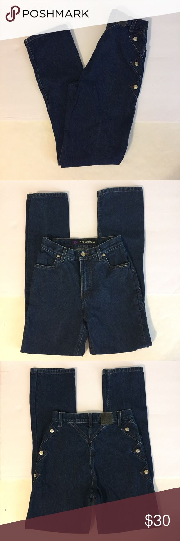 """Vintage Rockies Western Jeans (B16) Vintage, super high waist, Rockies Western Jeans.  These are in great pre-owned condition.  Great snap detailing on the sides.  No snags, holes or stains.  Very little fading and no fraying.  These are vintage, fabulous.  Size 5/6L.  Rise 11"""".  Inseam 32"""".  Flat waist 13 1/2"""".  Hips 18"""".  Leg opening 7"""" Rockies Jeans Straight Leg"""