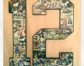 Photo Collage number on jersey number. Football jersey number collage. Original jersey number collage creator. Professional design. 12 inch.   We machine your wooden letter or number in our own shop! After you order, you will receive a photo request link.  Preserve and show off your memories with this unique gift. Professional, fast, and outstanding quality. We look forward to working to create your perfect collage