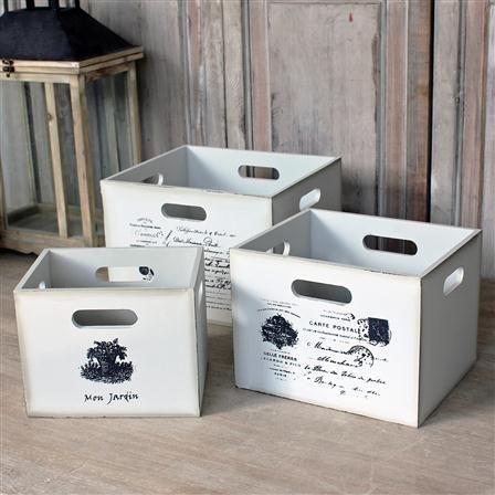 BIGGIE BEST - 3 boîtes en bois, blanc vieilli