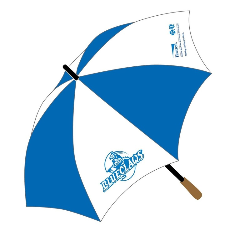 On our rained-out game our giveaway was conveniently umbrellas sponsored by Horizon Blue Cross Blue Sheid
