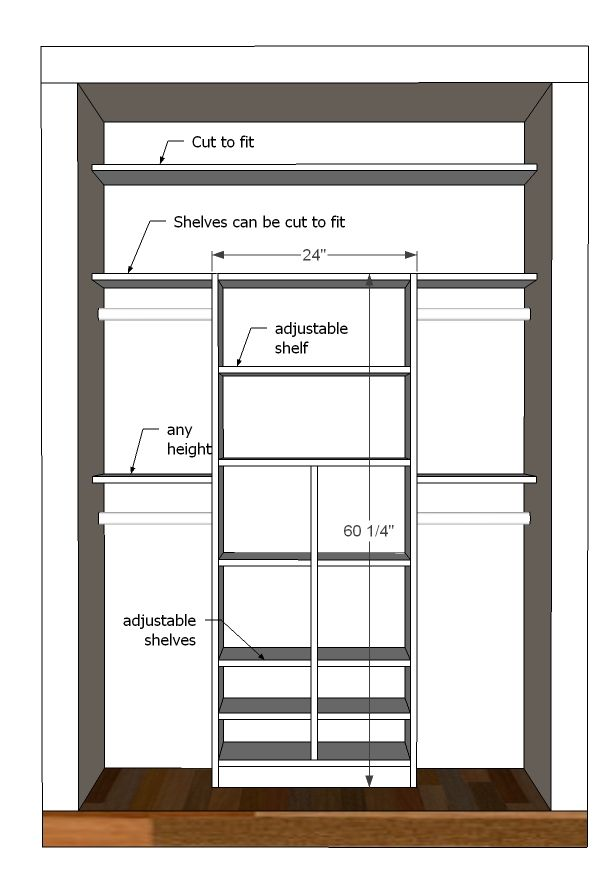 Layout for a kids' closet...would also be a great mudroom closet.