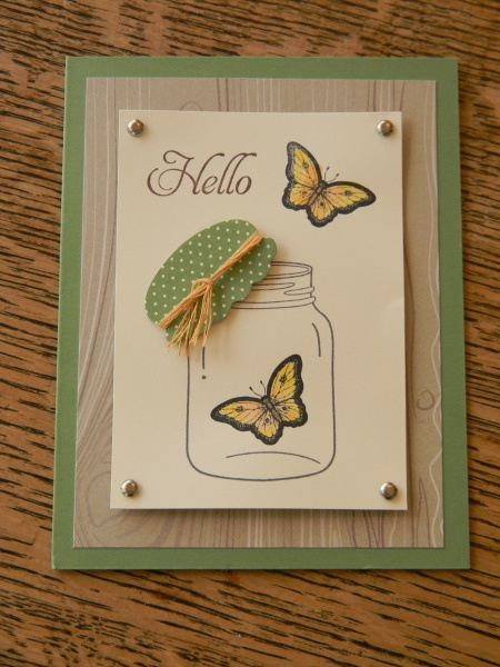 Butterfly Jar --- stamp Butterflies with Stazon Ink--
