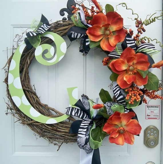 Fall Wreath with Metal Letter: Doors Wreaths, Crafts Ideas, Christmas Crafts, Decor Ideas, Doors Decor, Fall, Doors Hanging, Doors Art, Metals Letters
