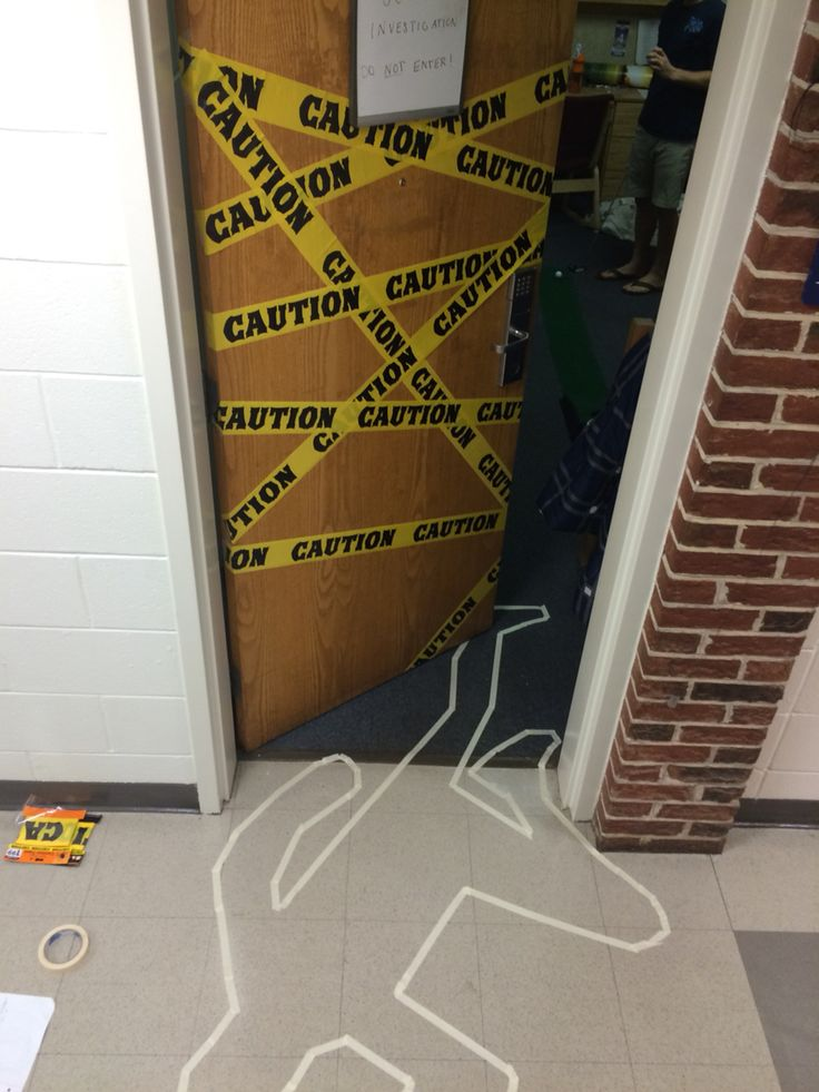 dorm door halloween decorations caution tape and murder body tape line - Halloween Decor 2016