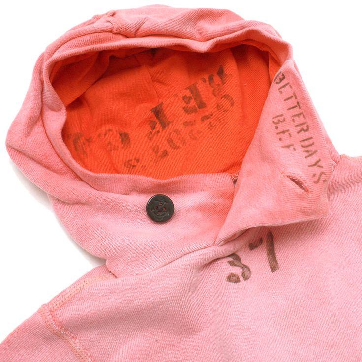 DENIM DUNGAREE(デニム&ダンガリー):ビンテージウラケ リメイク パーカー 25LR淡赤 の通販【ブランド子供服のミリバール】