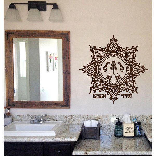 Lotus Indian Pattern Floral Design Amulet Yoga Decor Namaste Vinyl Sticker Home Decor Art Sticker Decal size 44x44 Color