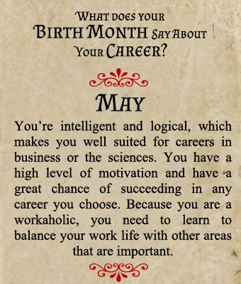What does your Birth Month say about your Career? - Born in May
