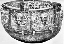 Catalog Entry: Copenhagen, Nationalmuseet Gundestrup Cauldron Peat bog, Gundestrup (Denmark) First century B.C.E. Silver partially gilded Diameter 69cm., Height 42cm.