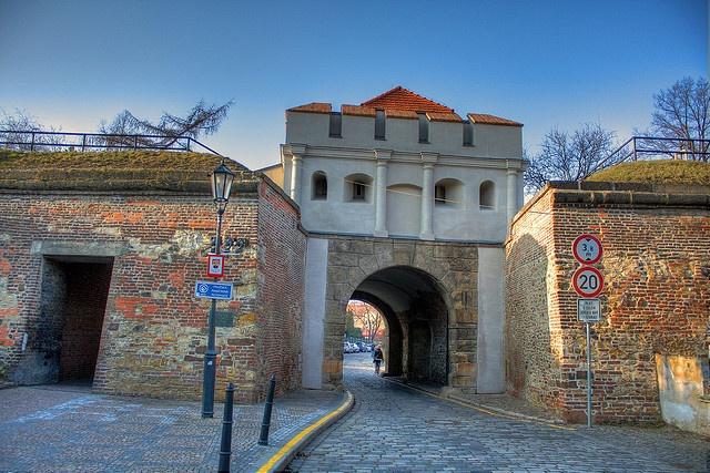 Prague Praha Vyšehrad - Táborská brána - Tábor gate    Late renaissance Tábor Gate in Vyšehrad, Prague, Czech Republic. One of four preserved city gates in Prague. Built around 1640