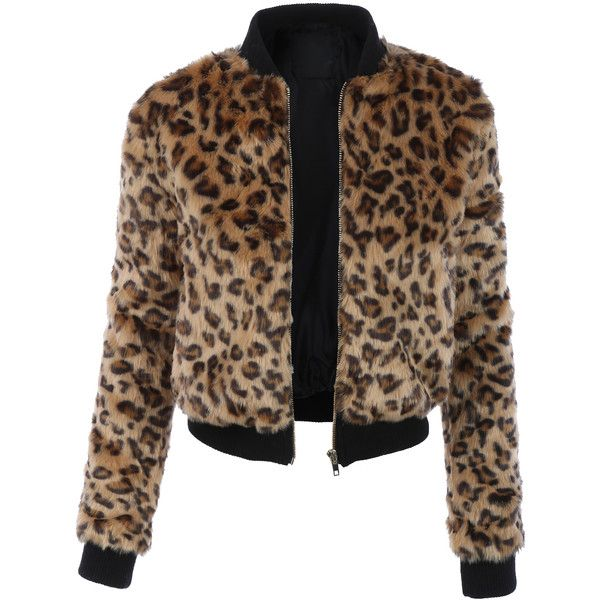 LE3NO Womens Cropped Leopard Zip Up Faux Fur Jacket ($35) ❤ liked on Polyvore featuring outerwear, jackets, faux fur leopard jacket, faux fur jacket, zip up jackets, brown jacket and leopard print faux fur jacket