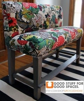 "Custom Upholstered Counter Height Bench - 52"". via Etsy."