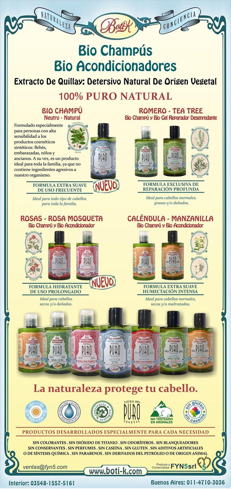 Bio Champús y Bio Acondicionadores Boti-K. La naturaleza protege tu cabello.