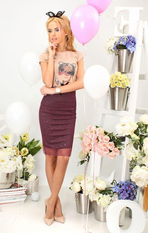 T-shirt Beige Cat - Baronesa Fashion House
