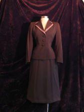 VINTAGE 1940's WWII Era BROWN RAYON Jacket & Skirt Ladies Dress SUIT