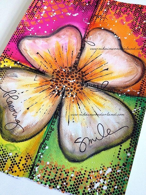 Original Art - Mixed Media Flower - Nika in Wonderland
