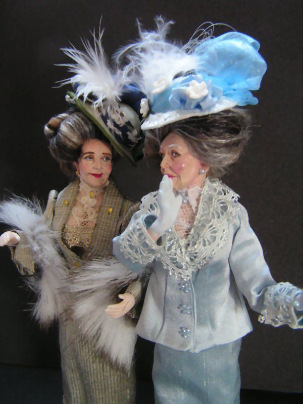 'The Gossips!' You can just imagaine them ooing and ahhing over some tasty bit of gossip can't you? They are made from 3 Marcia Backstrom Doll kits I've had sitting in a drawer for some time. They will soon be available on my website for £95 each.