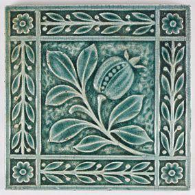 Antique Arts and Crafts tile. E. Smith pomegranate tile 1890