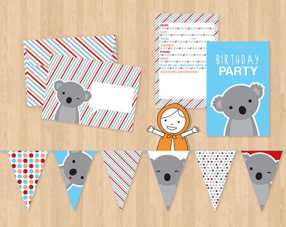 Koala Birthday Party Set with invitations, envelopes, coloring pictures, cupcake toppers, goodiebags and much more (printable) by ankepankedesigns, €15.00