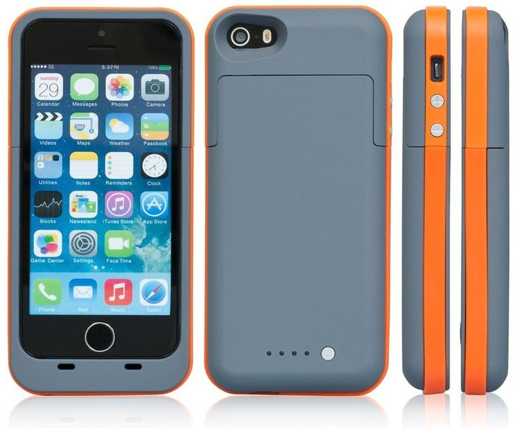 Grey and orange 2500mAh iphone 5 5s and Se model charging cases available from our online store