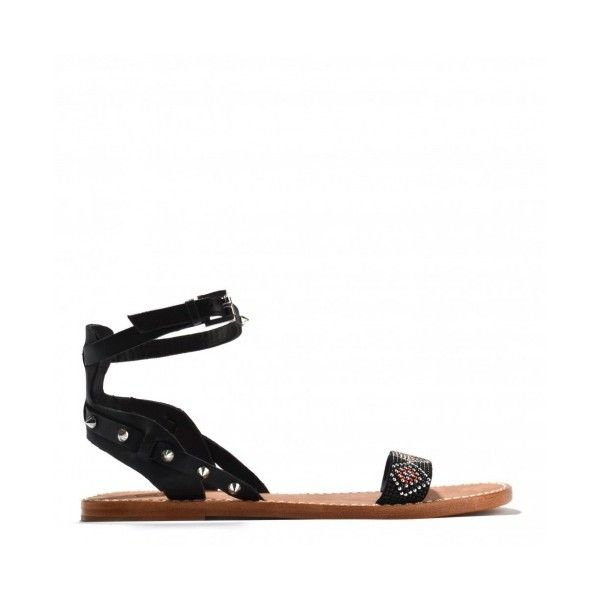 Ash Footwear Pearl Black Studded Flat Sandal (€85) ❤ liked on Polyvore featuring shoes, sandals, black shoes, flat shoes, kohl shoes, black flat sandals and flat sandals