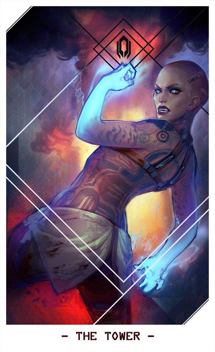 Jack as The Tower -- Mass Effect Tarot Cards