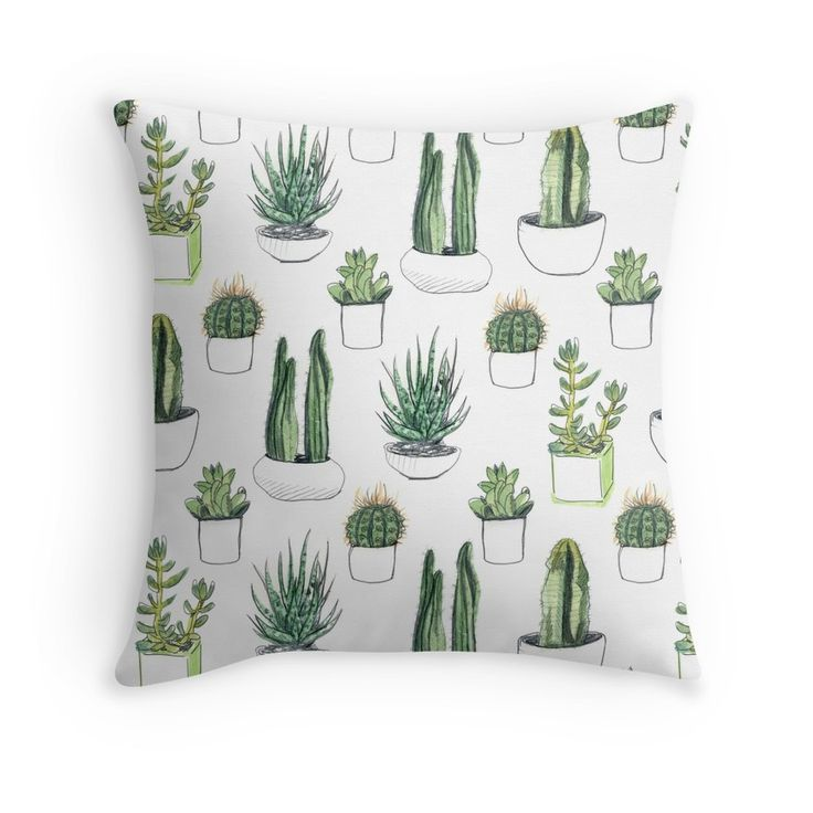 watercolour cacti and succulents Throw Pillows