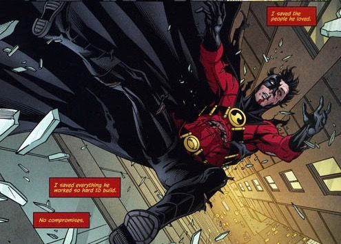 He distracts Ra's from stopping Lucius Fox from making Drake the controlling shareholder of Wayne Enterprises. Realizing that Red Robin has bested him, Ra's commends him, calls him 'detective' and launches Tim out of the window. Tim is happy that he was able to achieve victory without any compromises, and is saved from falling by Dick Grayson (as Batman).