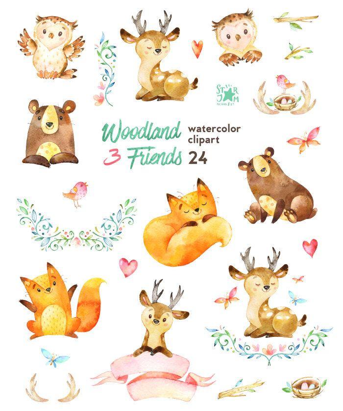 Woodland Friends 3. Watercolor animals clipart, fox, forest, deer, bear, owl, bird, butterfly, greeting, invite, flower, wreath, diy, bannerGema Araya